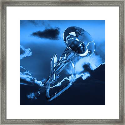 Trumpet Blues Square Framed Print