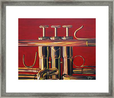 Trumpet In Red Framed Print by Emily Page