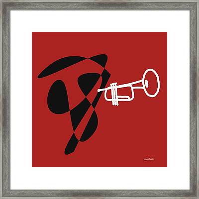 Trumpet In Orange Red Framed Print
