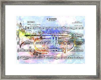 Trumpet Music Theme 1 - By Diana Van Framed Print