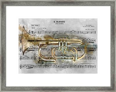Trumpet Music Theme 2 - By Diana Van Framed Print