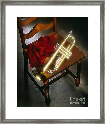 Trumpet On Chair Framed Print by Tony Cordoza
