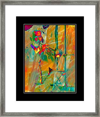 Trumpet Player With Black Border Framed Print by Dorothy Berry-Lound