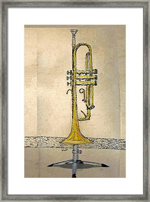 Framed Print featuring the digital art Trumpet by Walter Chamberlain