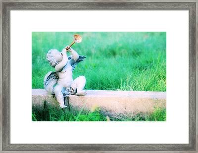 Trumpeting Cherub Framed Print by Captive Soul
