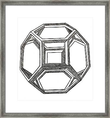 Truncated Octahedron With Open Faces Framed Print by Leonardo Da Vinci
