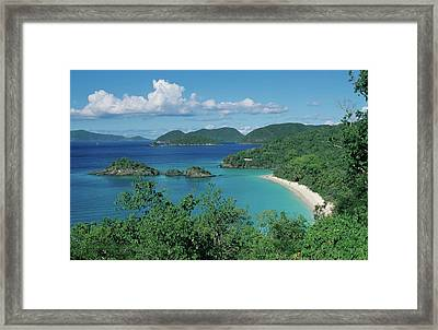 Trunk Bay And Beach Framed Print