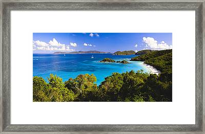 Trunk Bay Panorama Framed Print by George Oze