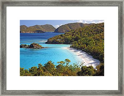 Trunk Bay St John Us Virgin Islands Framed Print by George Oze