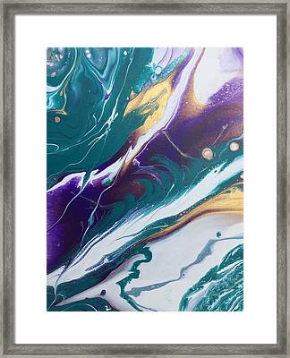 Fluid Art - Purple And Gold Acrylic Poured Painting - Acrylic Flow Painting - Mixed Media Assemblage Framed Print