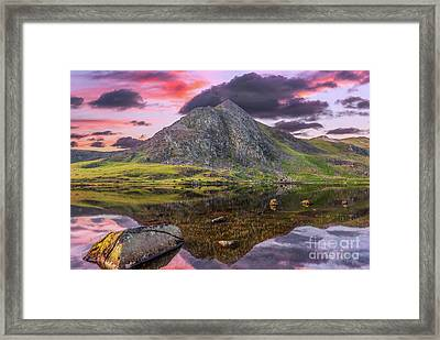 Framed Print featuring the photograph Tryfan Mountain Sunset by Adrian Evans