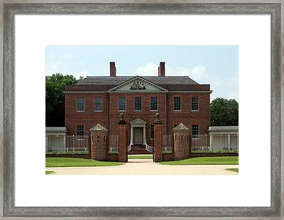 Tryon Palace Front With Gaurd Posts Framed Print by Rodger Whitney