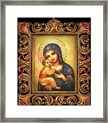 Tryptichon Madonna With Frame Framed Print