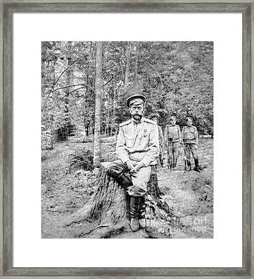 Tsar Nicholas II In Bolshevik Captivity At Tsarskoye Selo In 1917 Framed Print