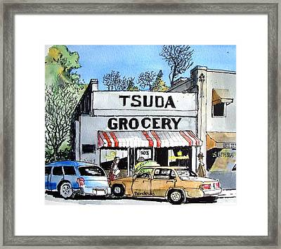 Framed Print featuring the painting Tsuda Grocery by Terry Banderas