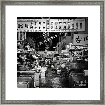 Tsukiji Shijo, Tokyo Fish Market, Japan Framed Print