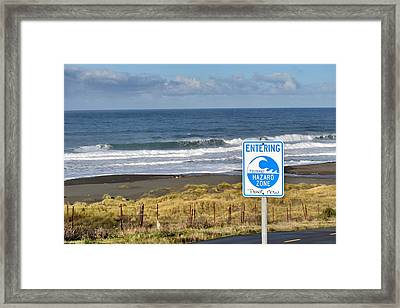 Tsunami Hazard Zone Framed Print