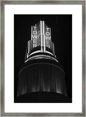 Ttower Theatre  Black And White Framed Print