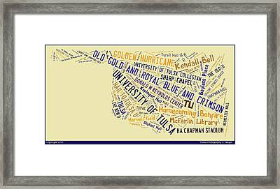 Tu Word Art University Of Tulsa Framed Print by Roberta Peake