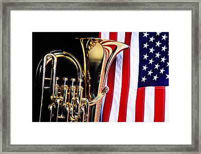 Tuba And American Flag Framed Print