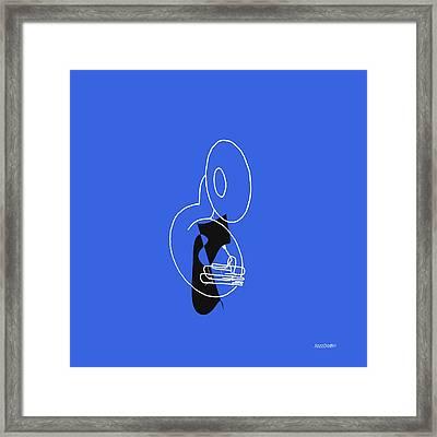 Tuba In Blue Framed Print by David Bridburg