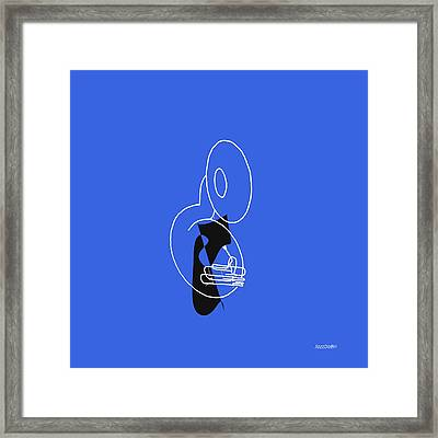 Tuba In Blue Framed Print