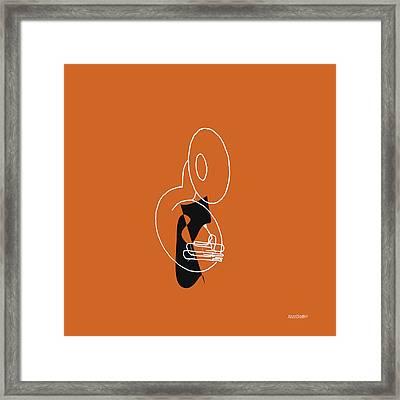 Tuba In Orange Framed Print by David Bridburg