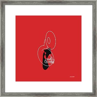 Tuba In Red Framed Print