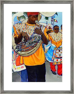Tuba Man Framed Print by Jeanne Russell