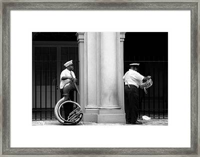 Tuba Player And Drummer Framed Print by Todd Fox
