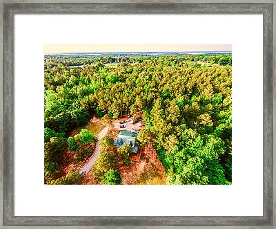 Tucked Away - Aerial Wooded Landscape Framed Print by Barry Jones