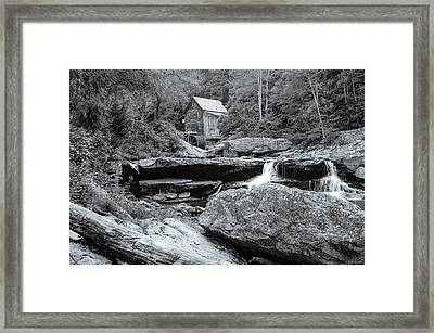 Tucked Away - Black And White Old Mill Photography Framed Print by Gregory Ballos