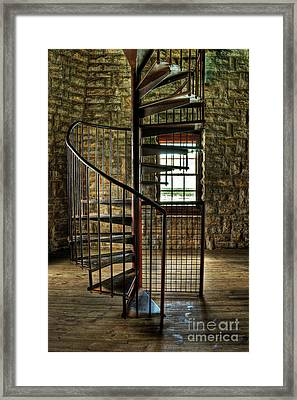 Framed Print featuring the photograph Tucker's Tower Spiral Staircase by Tamyra Ayles