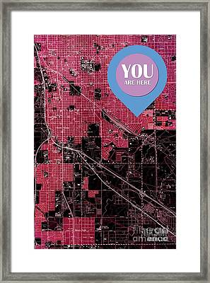 Tucson Arizona 1957 Red Old Map You Are Here Framed Print