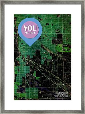Tucson Arizona 1957 Vintage Green Map You Are Here Framed Print by Pablo Franchi