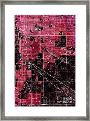 Tucson Arizona 1957 Vintage Red Map Framed Print by Pablo Franchi