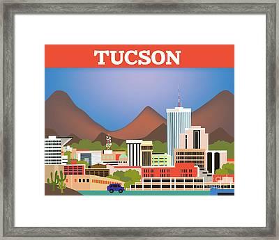 Tucson Arizona Horizontal Skyline Framed Print