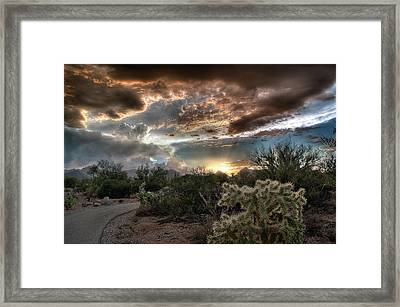 Framed Print featuring the photograph Tucson Mountain Sunset by Lynn Geoffroy