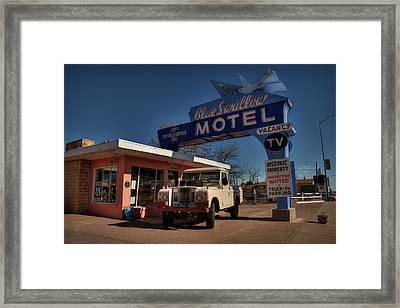 Framed Print featuring the photograph Tucumcari - Blue Swallow Motel 001 by Lance Vaughn