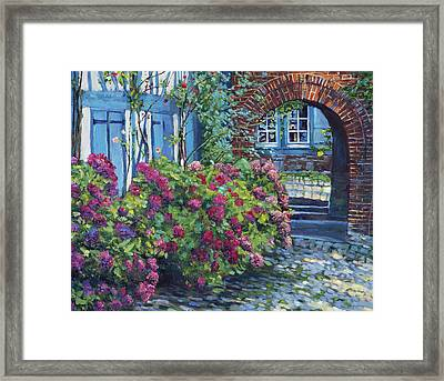 Tudor Hydrangea Garden Framed Print by David Lloyd Glover