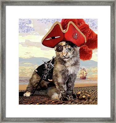 Teuti The Pirate - Cats In Hats Series Framed Print by Michele Avanti