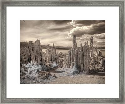 Tufa Mono Lake California Infrared Surreal Sepia Framed Print by Jane Linders