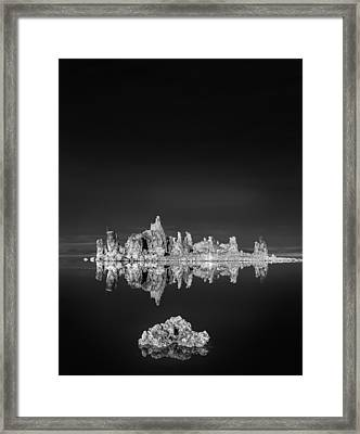 Tufas Reflecting In Mono Lake Framed Print