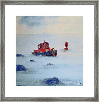Tug Aground Framed Print by Ken Figurski