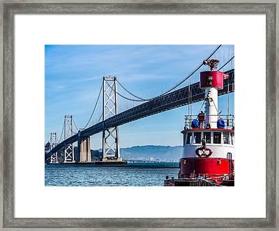 Tug Boat By The Bay Bridge Framed Print