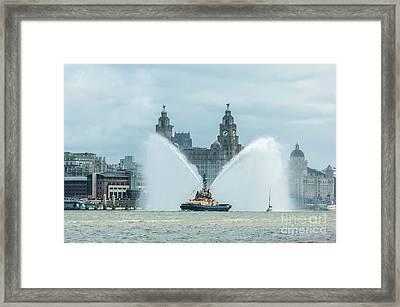 Tug Boat Fountain Framed Print