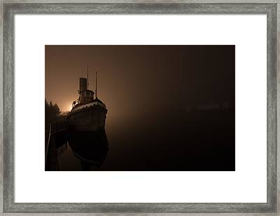 Tug Boat In Fog Framed Print
