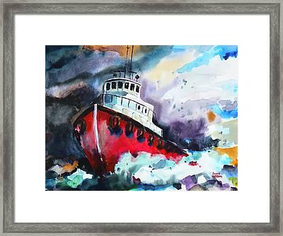 Tug Boat Storm  Framed Print