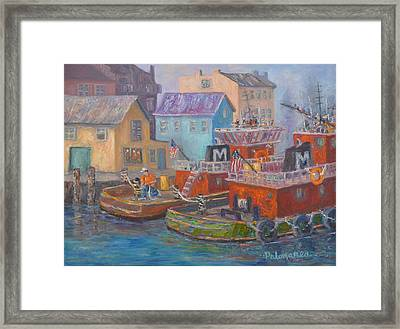 Tug Boats Portsmouth Maritime Painting Framed Print