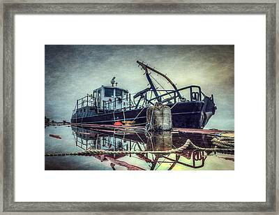 Tug In The Fog Framed Print